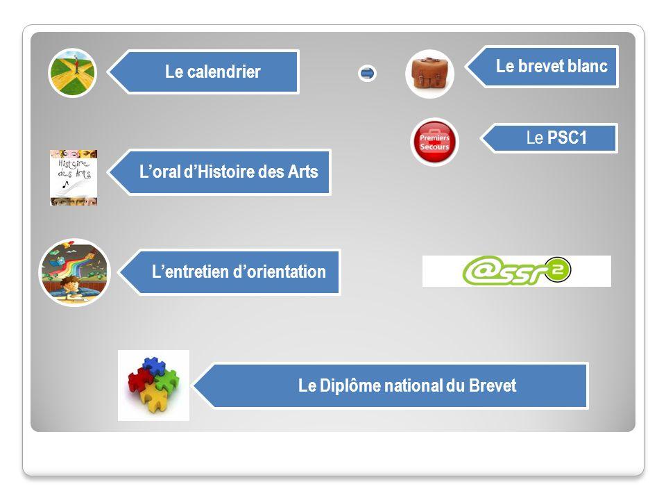 Le calendrier Le brevet blanc Loral dHistoire des Arts Le PSC1 Lentretien dorientation Le Diplôme national du Brevet