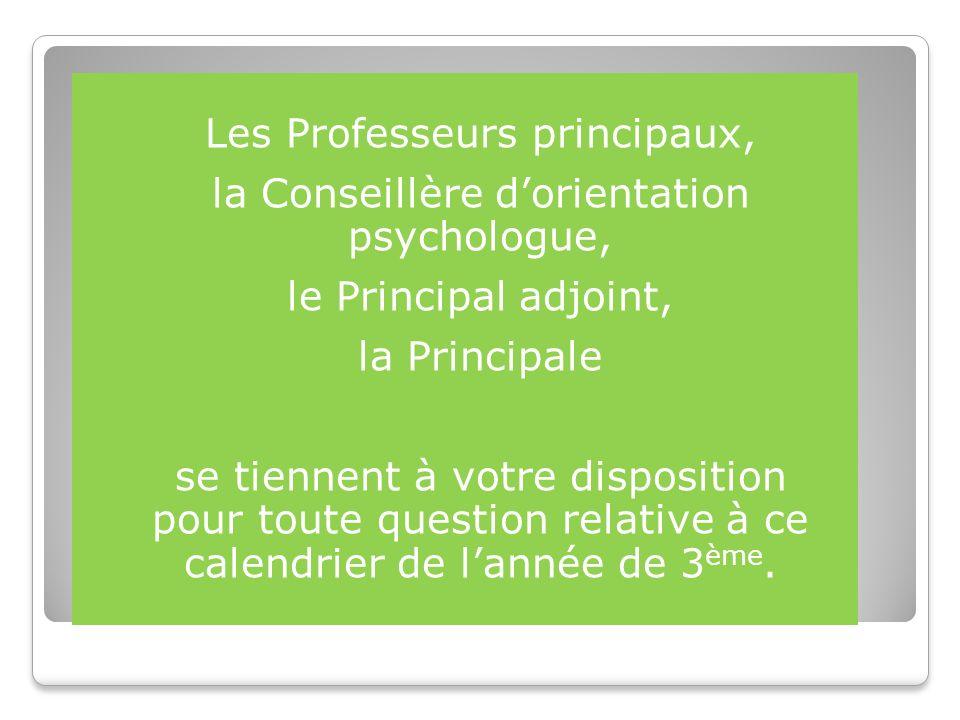 Les Professeurs principaux, la Conseillère dorientation psychologue, le Principal adjoint, la Principale se tiennent à votre disposition pour toute question relative à ce calendrier de lannée de 3 ème.