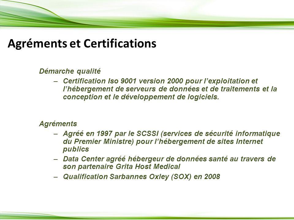 Agréments et Certifications Démarche qualité –Certification Iso 9001 version 2000 pour lexploitation et lhébergement de serveurs de données et de traitements et la conception et le développement de logiciels.