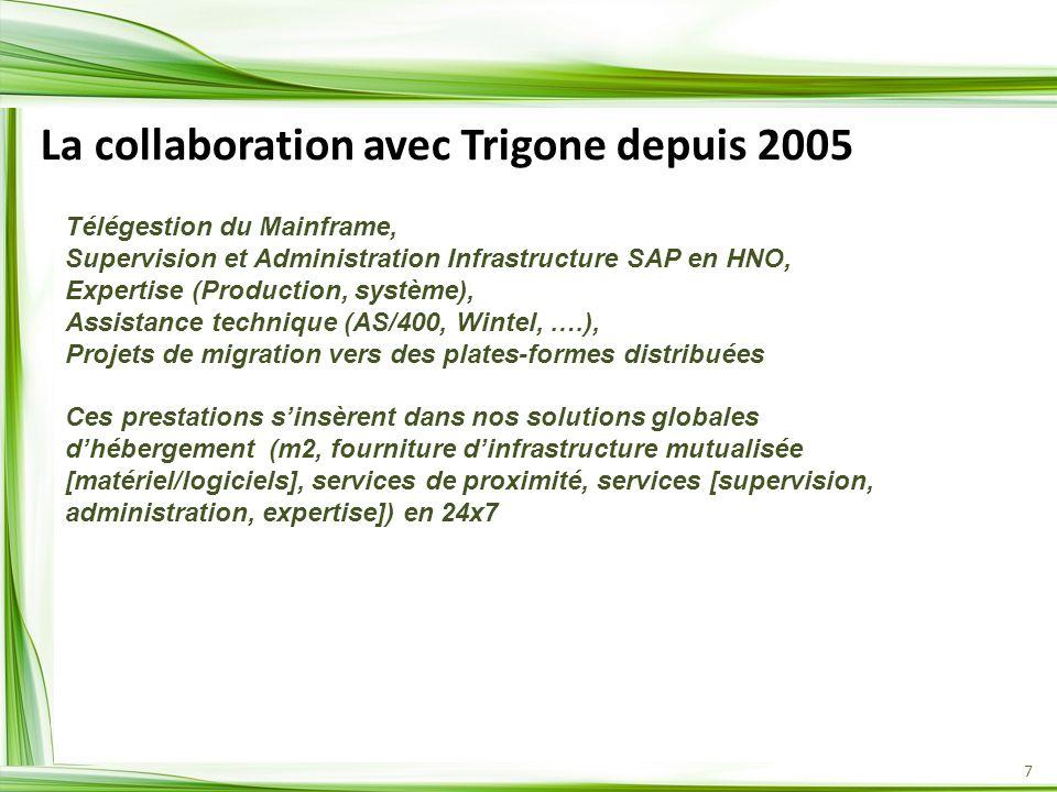7 La collaboration avec Trigone depuis 2005 Télégestion du Mainframe, Supervision et Administration Infrastructure SAP en HNO, Expertise (Production, système), Assistance technique (AS/400, Wintel, ….), Projets de migration vers des plates-formes distribuées Ces prestations sinsèrent dans nos solutions globales dhébergement (m2, fourniture dinfrastructure mutualisée [matériel/logiciels], services de proximité, services [supervision, administration, expertise]) en 24x7