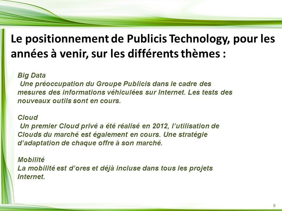 8 Le positionnement de Publicis Technology, pour les années à venir, sur les différents thèmes : Big Data -Une préoccupation du Groupe Publicis dans l