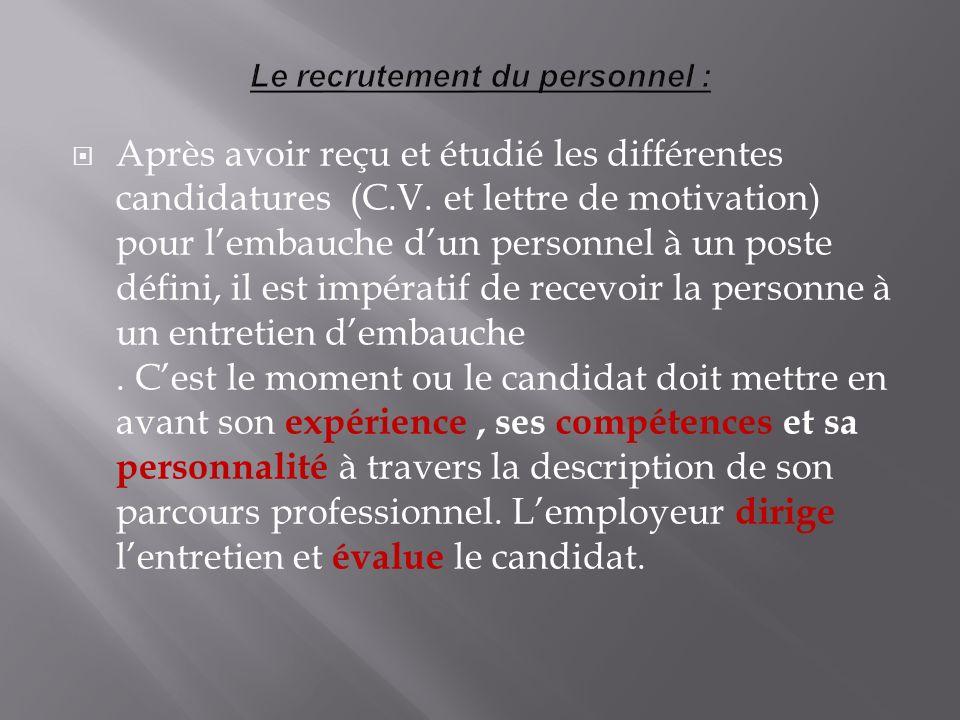 Après avoir reçu et étudié les différentes candidatures (C.V. et lettre de motivation) pour lembauche dun personnel à un poste défini, il est impérati