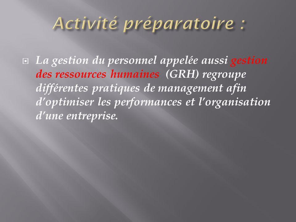 La gestion du personnel appelée aussi gestion des ressources humaines (GRH) regroupe différentes pratiques de management afin doptimiser les performan