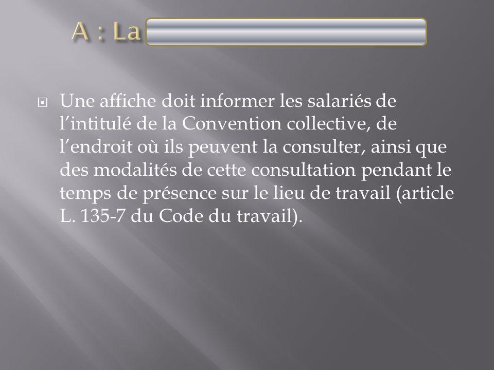 Une affiche doit informer les salariés de lintitulé de la Convention collective, de lendroit où ils peuvent la consulter, ainsi que des modalités de c