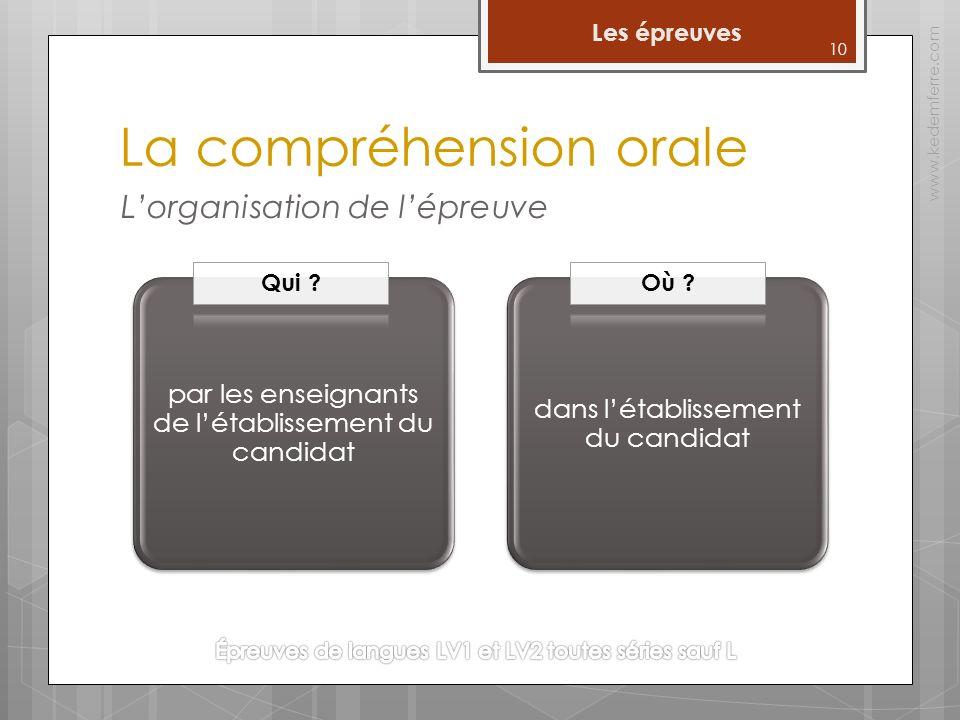 10 Les épreuves www.kedemferre.com La compréhension orale par les enseignants de létablissement du candidat dans létablissement du candidat Lorganisat