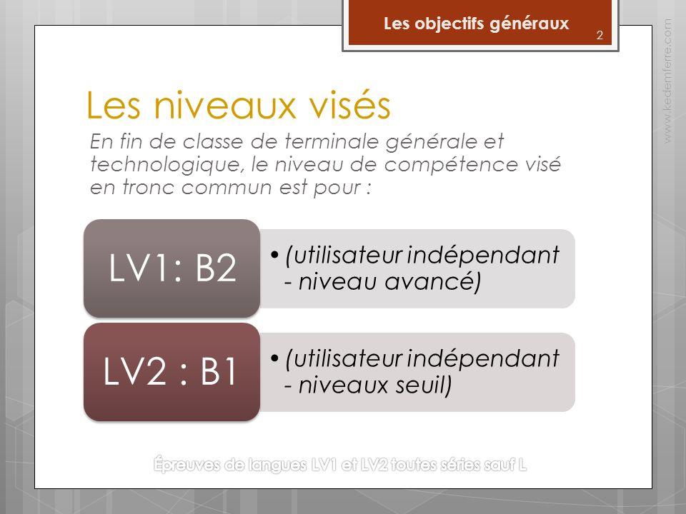 Les niveaux visés En fin de classe de terminale générale et technologique, le niveau de compétence visé en tronc commun est pour : 2 Les objectifs généraux www.kedemferre.com (utilisateur indépendant - niveau avancé) LV1: B2 (utilisateur indépendant - niveaux seuil) LV2 : B1