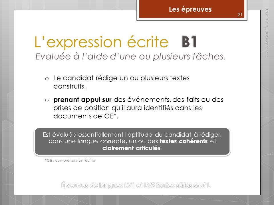 Lexpression écrite www.kedemferre.com o prenant appui sur des événements, des faits ou des prises de position qu il aura identifiés dans les documents de CE*.