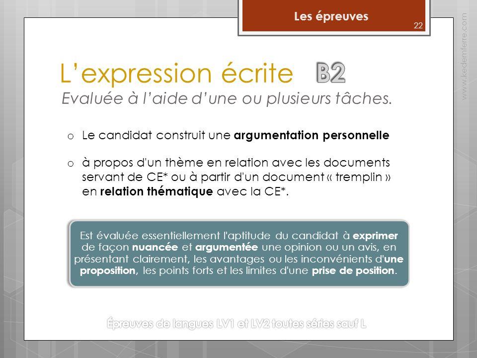 Lexpression écrite www.kedemferre.com o Le candidat construit une argumentation personnelle o à propos d un thème en relation avec les documents servant de CE* ou à partir d un document « tremplin » en relation thématique avec la CE*.