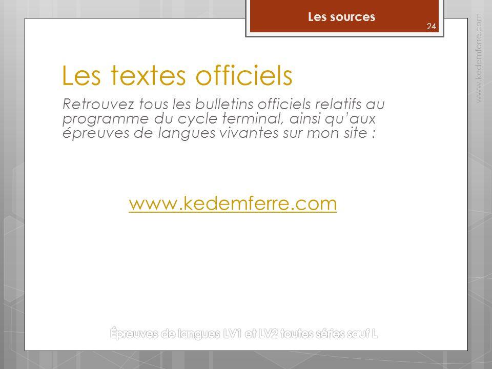 Les textes officiels Retrouvez tous les bulletins officiels relatifs au programme du cycle terminal, ainsi quaux épreuves de langues vivantes sur mon site : www.kedemferre.com www.kedemferre.com 24 Les sources