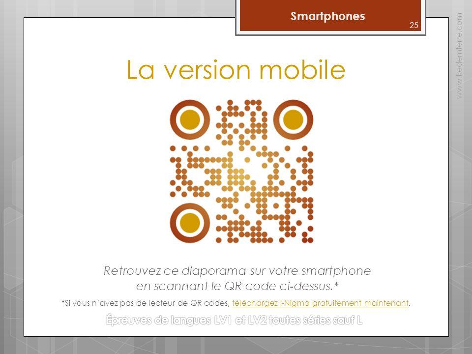 La version mobile Retrouvez ce diaporama sur votre smartphone en scannant le QR code ci-dessus.* www.kedemferre.com 25 *Si vous navez pas de lecteur de QR codes, téléchargez i-Nigma gratuitement maintenant.téléchargez i-Nigma gratuitement maintenant Smartphones