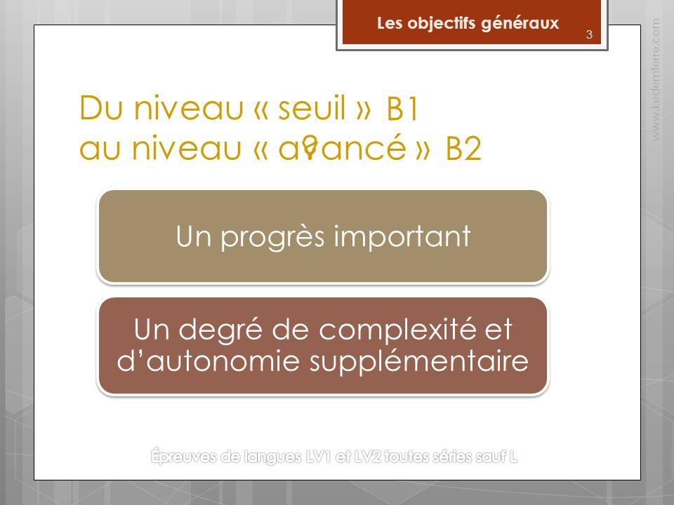 Du niveau « seuil » www.kedemferre.com o Passer du niveau seuil B1 au niveau avancé B2 dans l'échelle du Cadre européen constitue un progrès important