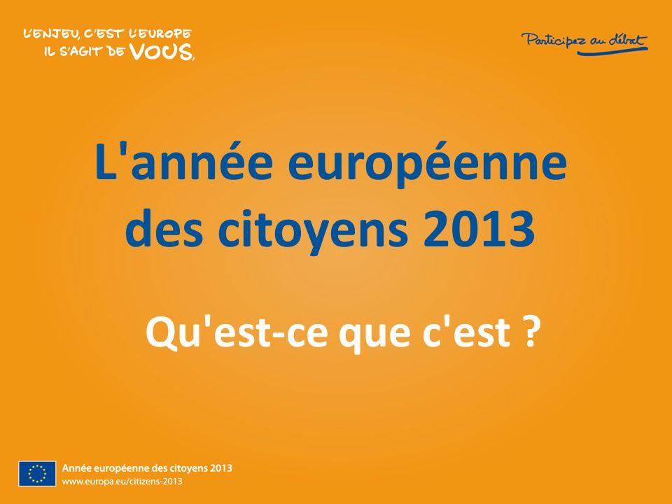L'année européenne des citoyens 2013 Qu'est-ce que c'est ?