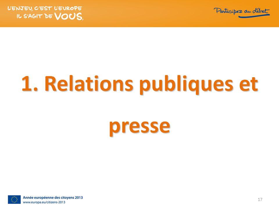1. Relations publiques et presse 17