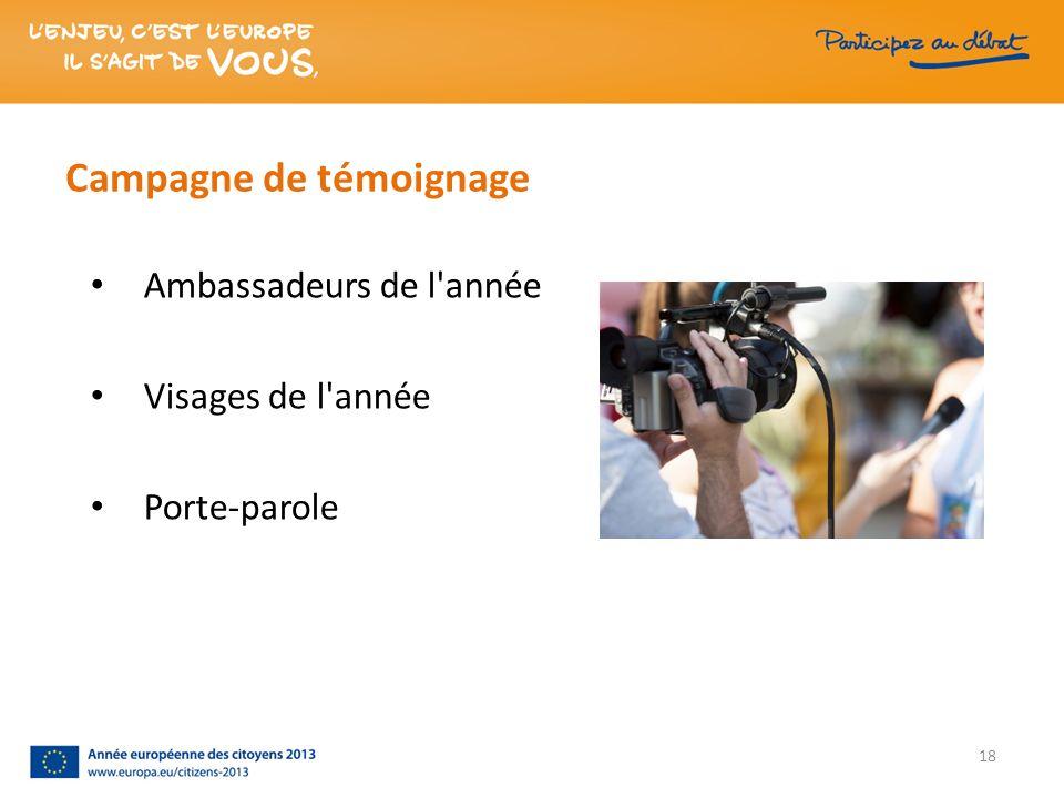 Campagne de témoignage Ambassadeurs de l'année Visages de l'année Porte-parole 18