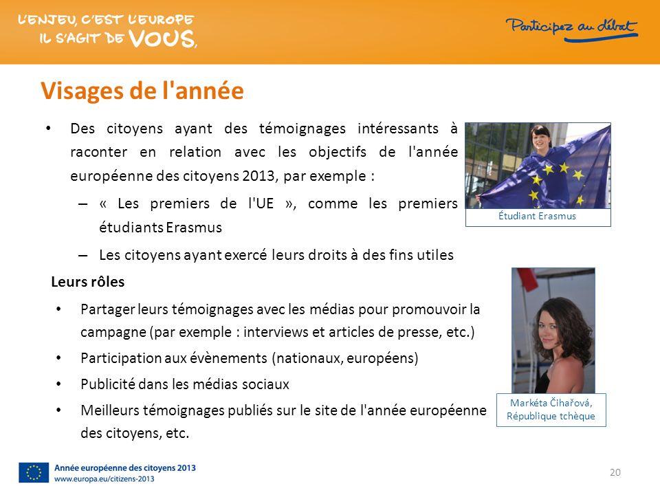 Visages de l'année Des citoyens ayant des témoignages intéressants à raconter en relation avec les objectifs de l'année européenne des citoyens 2013,