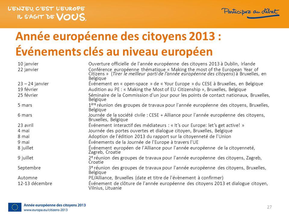 Année européenne des citoyens 2013 : Événements clés au niveau européen 10 janvier Ouverture officielle de l'année européenne des citoyens 2013 à Dubl