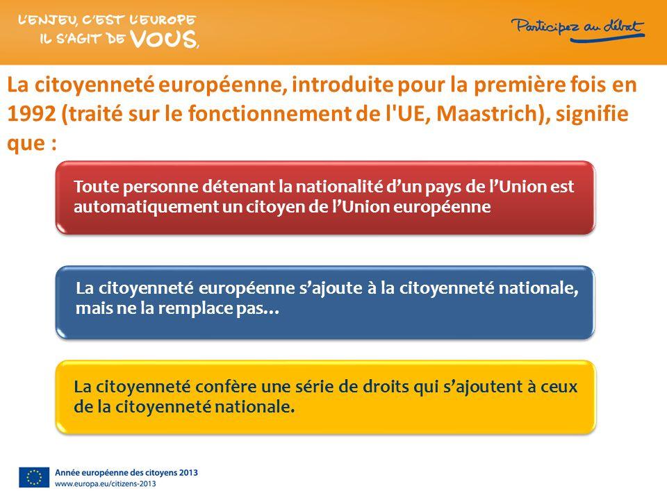 La citoyenneté européenne, introduite pour la première fois en 1992 (traité sur le fonctionnement de l'UE, Maastrich), signifie que : Toute personne d