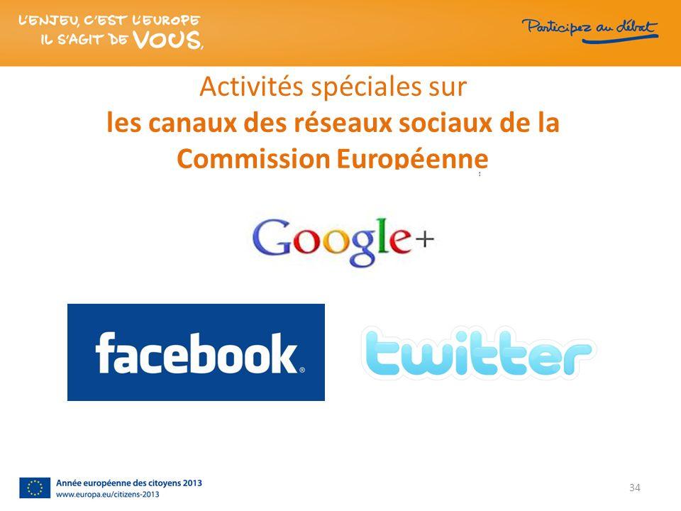 Activités spéciales sur les canaux des réseaux sociaux de la Commission Européenne 34