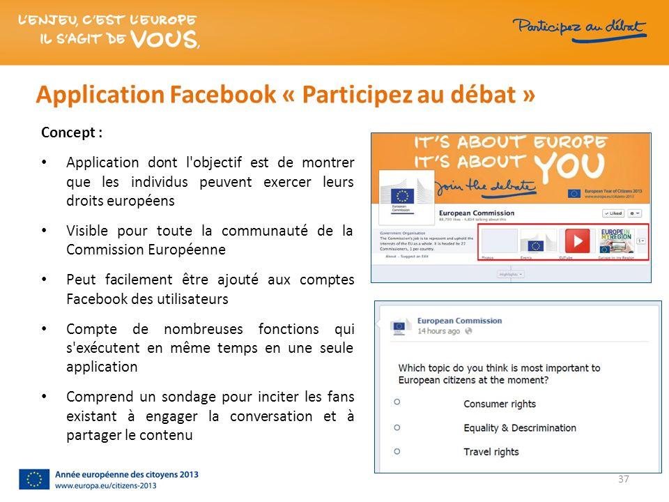 37 Application Facebook « Participez au débat » Concept : Application dont l'objectif est de montrer que les individus peuvent exercer leurs droits eu