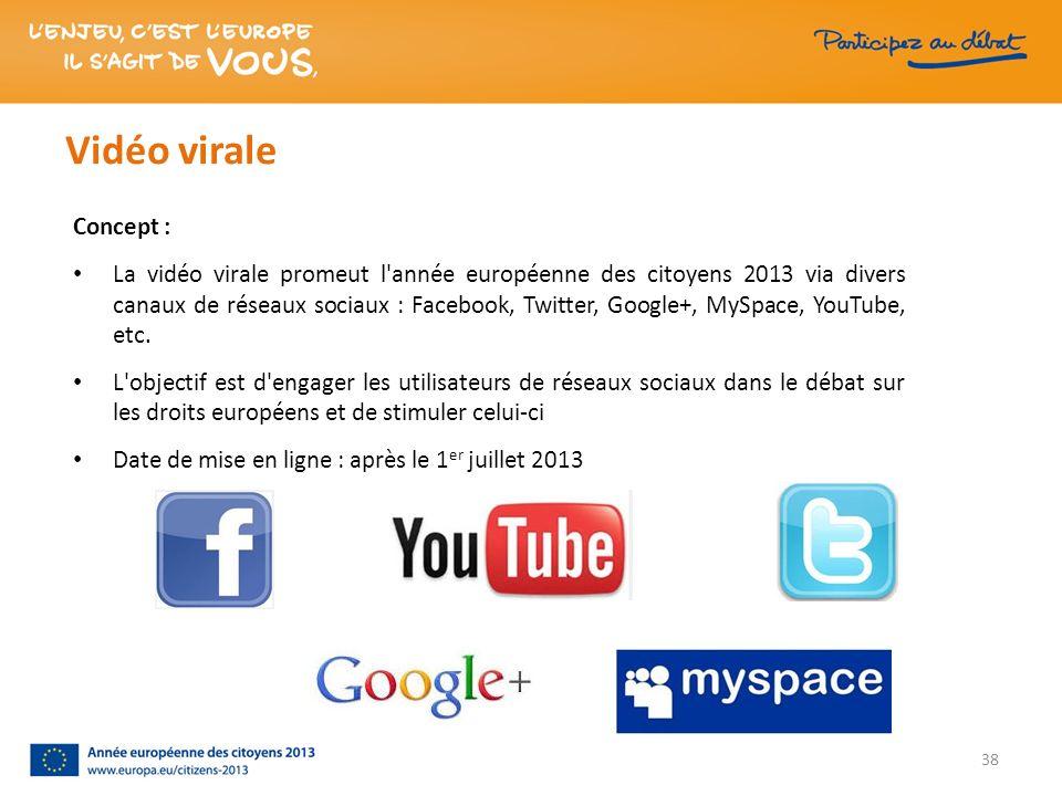 Vidéo virale Concept : La vidéo virale promeut l'année européenne des citoyens 2013 via divers canaux de réseaux sociaux : Facebook, Twitter, Google+,