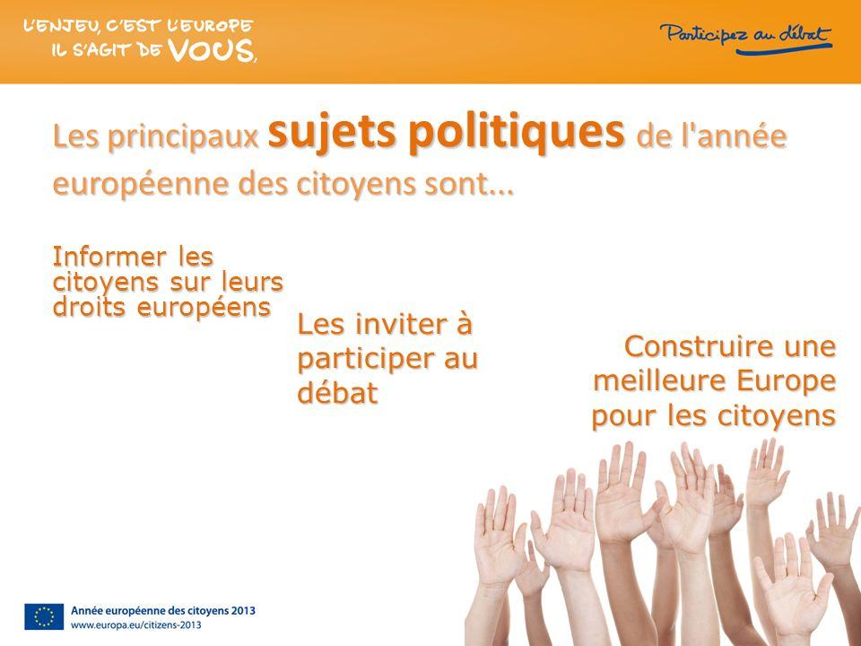 Les principaux sujets politiques de l'année européenne des citoyens sont... Informer les citoyens sur leurs droits européens Les inviter à participer