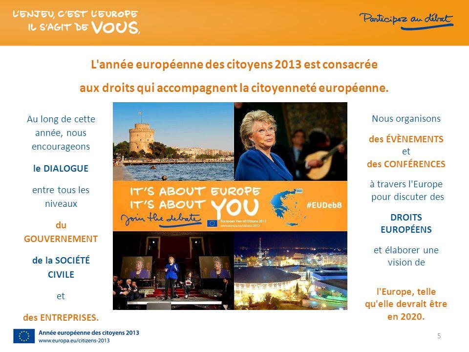 5 L'année européenne des citoyens 2013 est consacrée aux droits qui accompagnent la citoyenneté européenne. Nous organisons des ÉVÈNEMENTS et des CONF