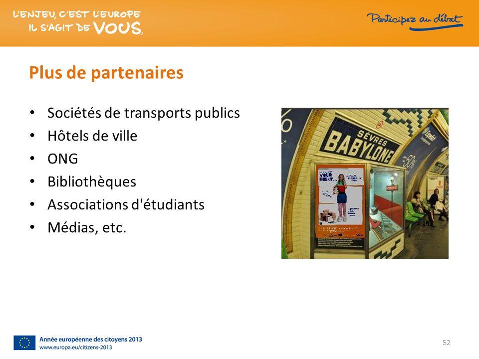 Plus de partenaires Sociétés de transports publics Hôtels de ville ONG Bibliothèques Associations d'étudiants Médias, etc. 52