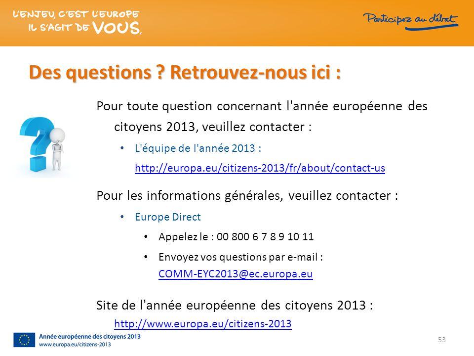 Des questions ? Retrouvez-nous ici : 53 Pour toute question concernant l'année européenne des citoyens 2013, veuillez contacter : L'équipe de l'année