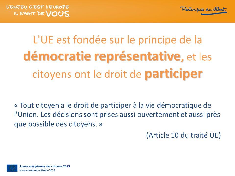démocratie représentative, participer L'UE est fondée sur le principe de la démocratie représentative, et les citoyens ont le droit de participer « To
