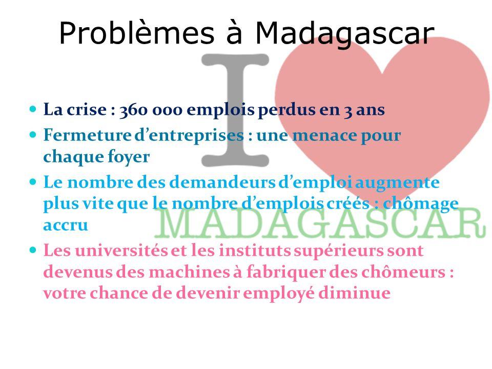 Problèmes à Madagascar La crise : 360 000 emplois perdus en 3 ans Fermeture dentreprises : une menace pour chaque foyer Le nombre des demandeurs dempl