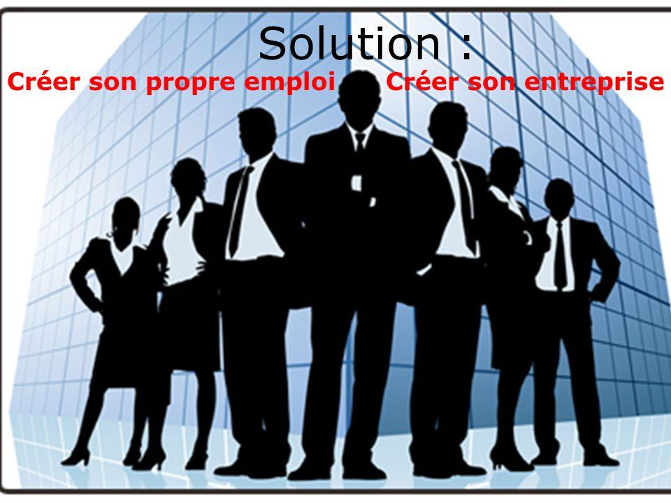 Créer son propre emploi Créer son entreprise Solution :