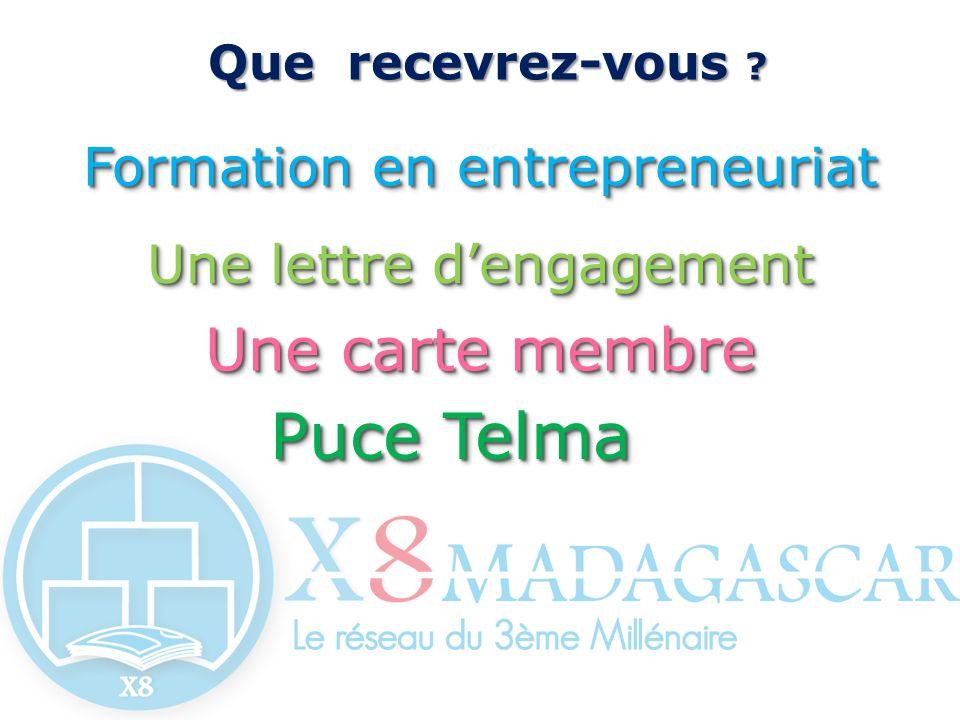 Que recevrez-vous ? Que recevrez-vous ? Formation en entrepreneuriat Une lettre dengagement Une carte membre Puce Telma