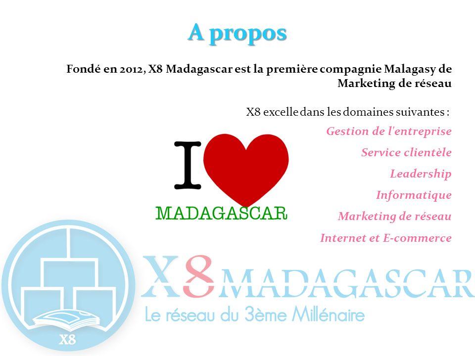 A propos Fondé en 2012, X8 Madagascar est la première compagnie Malagasy de Marketing de réseau X8 excelle dans les domaines suivantes : Gestion de l'