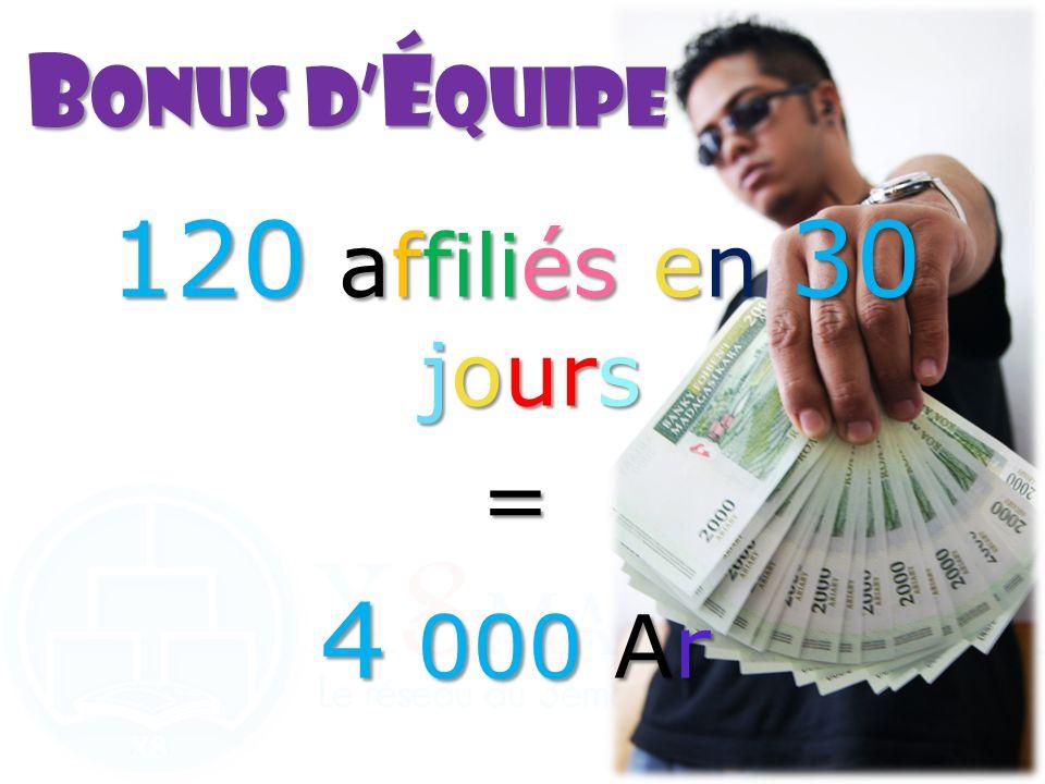 120 affiliés en 30 jours = 4 000 Ar B onusd é quipe B onus d é quipe