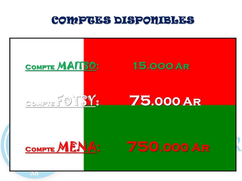 COMPTES DISPONIBLES COMPTES DISPONIBLES Compte MAITSO : 15.OOO Ar Compte FOTSY: 75.000 Ar Compte MENA : 750.000 Ar