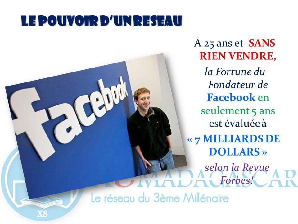 LE POUVOIR DUN RESEAU A 25 ans et SANS RIEN VENDRE, la Fortune du Fondateur de Facebook en seulement 5 ans est évaluée à « 7 MILLIARDS DE DOLLARS » se