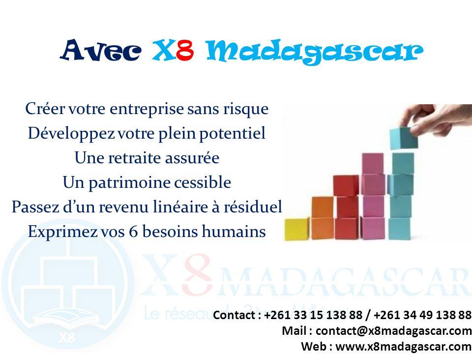 Avec X8 Madagascar Créer votre entreprise sans risque Développez votre plein potentiel Une retraite assurée Un patrimoine cessible Passez dun revenu l