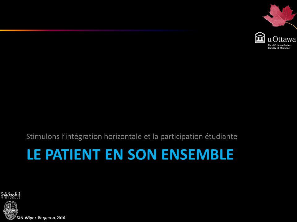 ©N.Wiper-Bergeron, 2010 LE PATIENT EN SON ENSEMBLE Stimulons lintégration horizontale et la participation étudiante