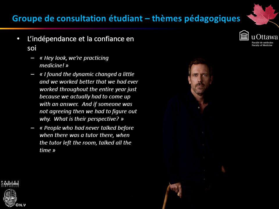 ©N.Wiper-Bergeron, 2010 Groupe de consultation étudiant – thèmes pédagogiques Lindépendance et la confiance en soi – « Hey look, were practicing medic