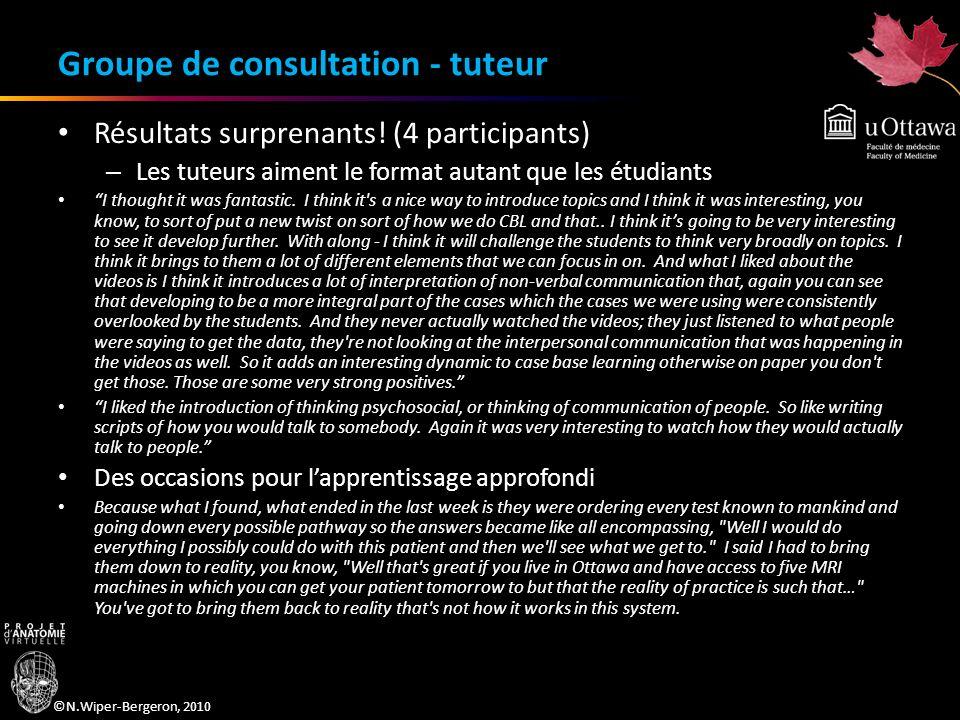 ©N.Wiper-Bergeron, 2010 Groupe de consultation - tuteur Résultats surprenants! (4 participants) – Les tuteurs aiment le format autant que les étudiant