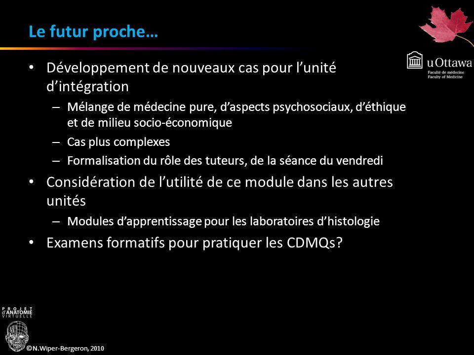©N.Wiper-Bergeron, 2010 Le futur proche… Développement de nouveaux cas pour lunité dintégration – Mélange de médecine pure, daspects psychosociaux, dé