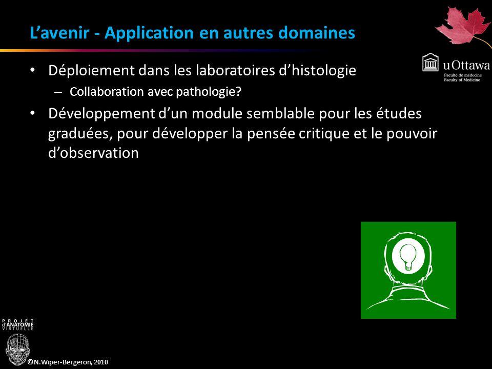 ©N.Wiper-Bergeron, 2010 Lavenir - Application en autres domaines Déploiement dans les laboratoires dhistologie – Collaboration avec pathologie? Dévelo