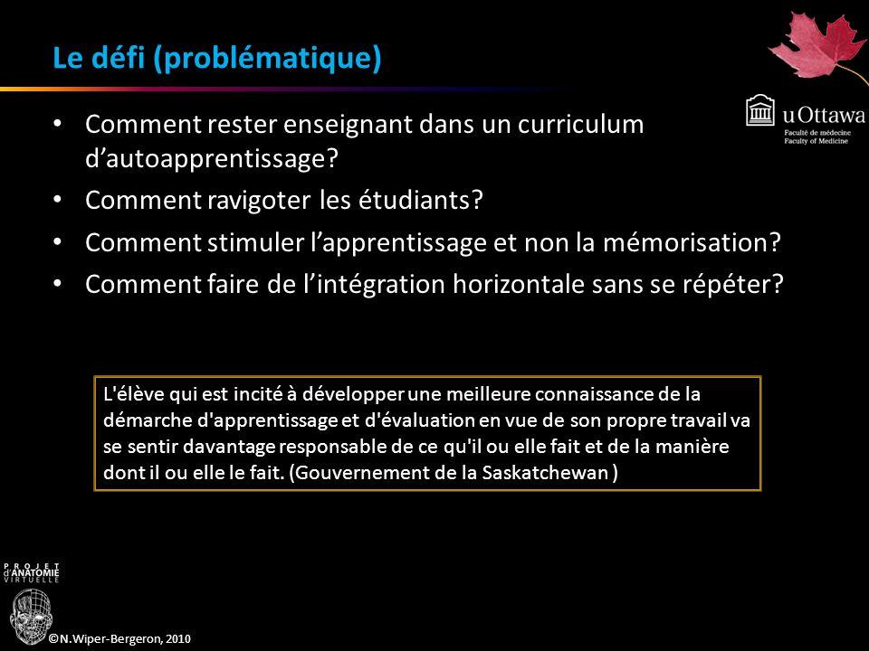 ©N.Wiper-Bergeron, 2010 Le défi (problématique) Comment rester enseignant dans un curriculum dautoapprentissage? Comment ravigoter les étudiants? Comm