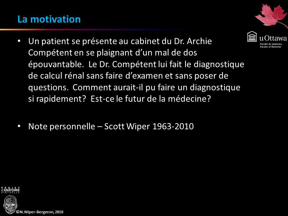©N.Wiper-Bergeron, 2010 La motivation Un patient se présente au cabinet du Dr. Archie Compétent en se plaignant dun mal de dos épouvantable. Le Dr. Co