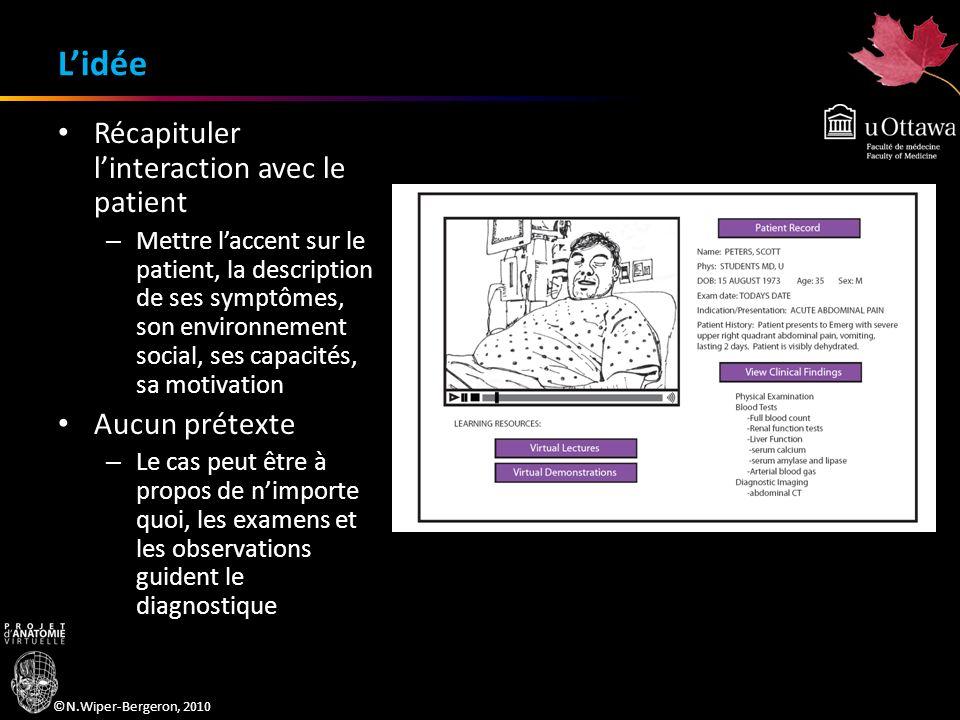 ©N.Wiper-Bergeron, 2010 Lidée Récapituler linteraction avec le patient – Mettre laccent sur le patient, la description de ses symptômes, son environne