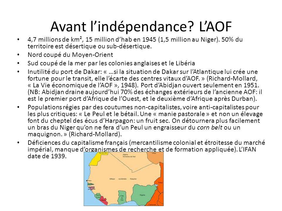 Avant lindépendance. LAOF 4,7 millions de km², 15 million dhab en 1945 (1,5 million au Niger).