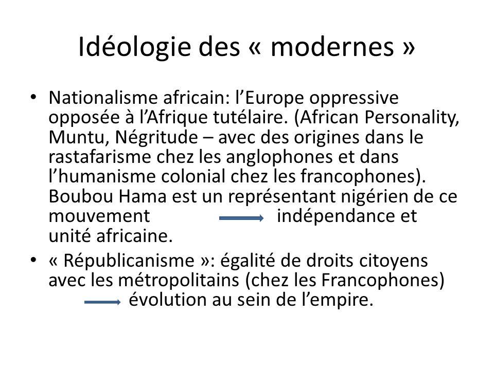 Idéologie des « modernes » Nationalisme africain: lEurope oppressive opposée à lAfrique tutélaire.
