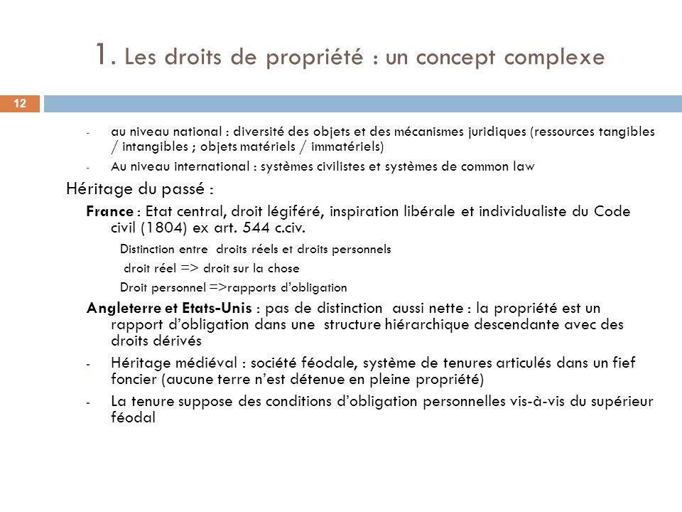 1. Les droits de propriété : un concept complexe - au niveau national : diversité des objets et des mécanismes juridiques (ressources tangibles / inta