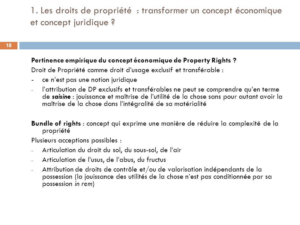 1. Les droits de propriété : transformer un concept économique et concept juridique ? Pertinence empirique du concept économique de Property Rights ?