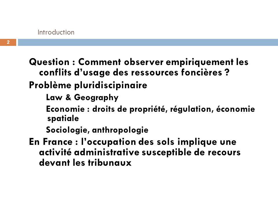 Introduction Question : Comment observer empiriquement les conflits dusage des ressources foncières ? Problème pluridiscipinaire Law & Geography Econo